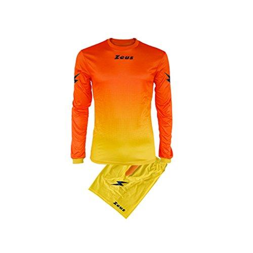 Zeus, Maglia + Pantaloncino Calcio Kit Eros, Colore: Giallo-Arancio, Taglia: S