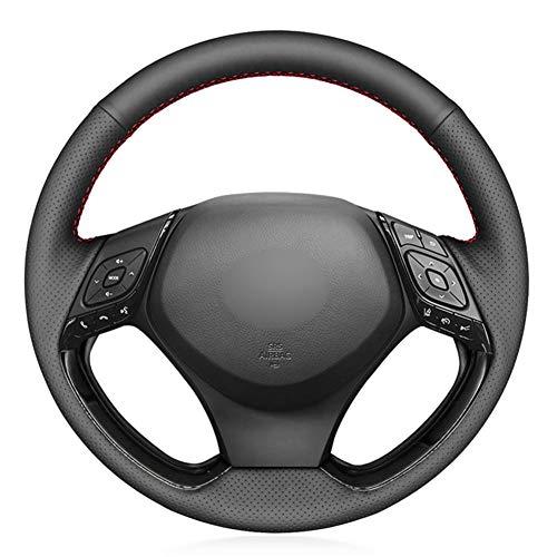 SAXTZDS Cubierta de Volante de Coche Cosida a Mano DIY de Piel sintética Negra de PU, Apta para Toyota C-HR CHR 2016 2017 2018 2019 Izoa 2018 2019
