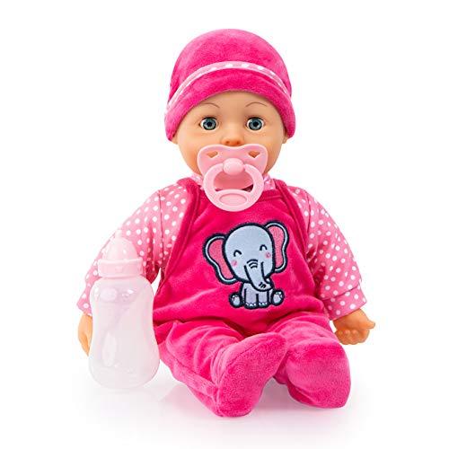 Bayer Design 93824CA, Puppe Sweet Baby 38cm, Babypuppe, Weichkörper, Schlafaugen, inkl. Flasche und Schnuller, rosa, pink, gepunktet mit Elefant
