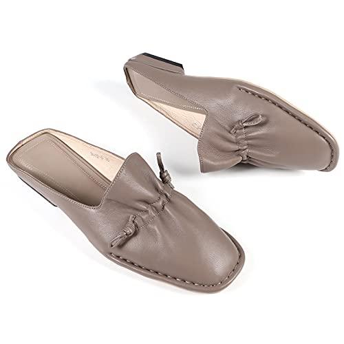 JXILY Zapatos para Mujer, Sandalias De Cuero, Zapatillas De Punta Hecha A Mano, Zapatos De Cuero, Nivel De Gran Tamaño Antecedentes Sin Resbalones. Primavera Y Verano,Gris,40