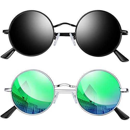 Joopin Redondas Gafas de sol Polarizadas Retro Vintage John Lennon Círculo Metálico Hippie Steampunk para Hombres y Mujeres 2PCS (Negro+Verde)