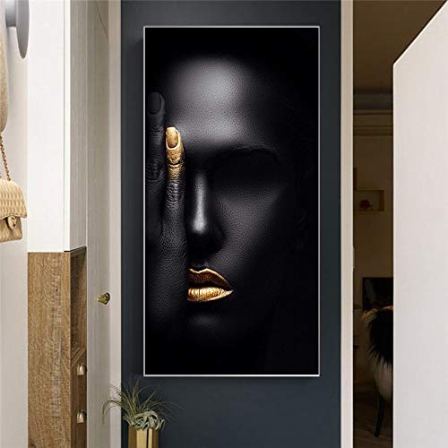 santangtang Nordic zwarte vrouw gezicht portretdoek - schilderij - poster - druk