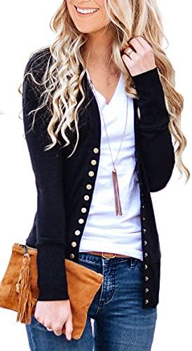 NENONA Women's V-Neck Button Down Knitwear Long Sleeve Soft Basic Knit Cardigan Sweater(Black-L)