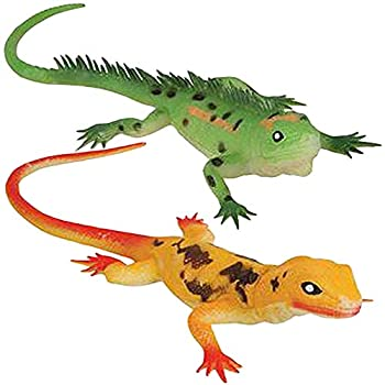 """ArtCreativity Soft Lizard Toys for Kids Set of 2 PVC Animal Figurines 13.5"""" Long Lizard Toys for Pretend Play and Wildlife Decorations Gifts and Favors for Safari or Zoo Birthday Party"""