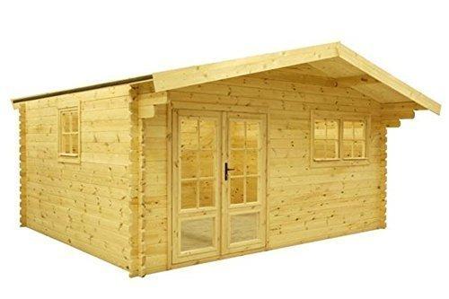 Fonteyn tuinhuis/blokhut Silvia zadeldak 505 x 415 cm + 90 luifel hoge druk geïmpregneerd