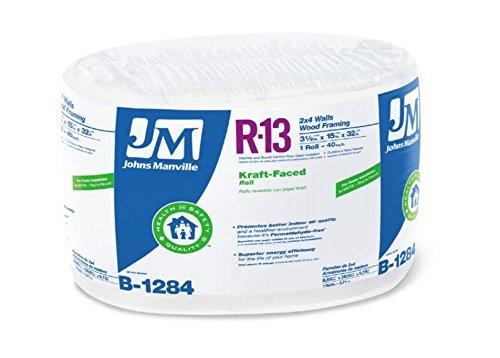 Johns Manville 90013166 Kraft-faced R-13 Fiberglass Insulation Roll, 15' X 32' by Johns...