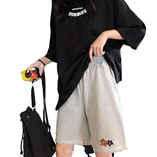nobranded Traje Recto de Cintura Alta Negro Pantalones de Cinco Puntos Versión Suelta Pantalones de Cintura elástica Casual Wild Beach