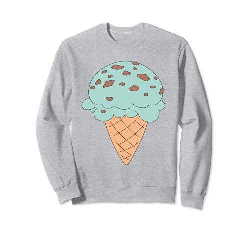 Cono de helado de chocolate menta con chip de dibujos animados Sudadera