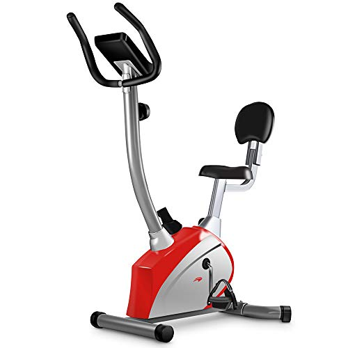 leikefitness Exercise Bike Easy to Assemble Magnetically Controlled Stationary Spin Bike Indoor Cycling Upright Bike for Home Gym Cardio Workout 600C (RED)
