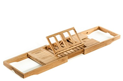 Prosumer's Choice Natural Bamboo Bathtub Caddy Tray Organizer with Book, Tablet, Phone, Wineglass Holder