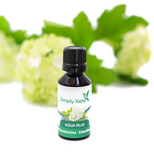 Simply Keto   Aqua Plus HOLUNDER   natürliches Aroma mit authentischem Geschmack   Frei von Zucker, Aspartam & Sucralose   Sirup-Alternative für mal 12 Liter Wasser (Holunder)