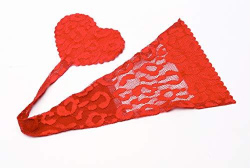 Shibue Couture No-Line Strapless Panty Spitze - Farbe Rot, Größe M - Selbsthaftender Stringtanga ohne Seitenbändchen