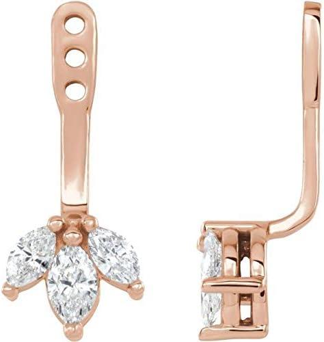 14K Rose Gold 1/4 CTW Diamond Cluster Front-Back Earring Jackets Cluster Front-Back Earring Jackets