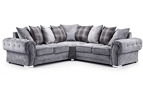 HHI Cheap GREY FABRIC CORNER SOFA For Sale-Corner sofa for rooms-Cheap sofa settee-Sofa sets To UK Main Lands