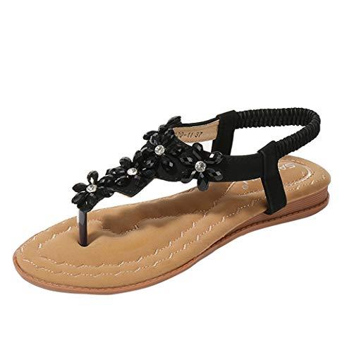 Sandalen Damen Sommer Btruely Mode Böhmen Sandalen Damen Flach Sandalen Mädchen Schuhe Flip Flops Blume Strandschuhe (39, Weiß)