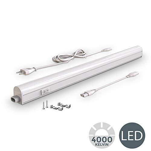 Lampada sottopensile cucina LED, luce bianca naturale 4000K, LED integrati da 8W, lunghezza 57.3cm, interruttore on off, plastica, lampada moderna collegabile con lampade uguali, 230V IP20