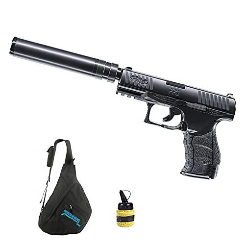 Pistola de Airsoft Walther PPQ Navy Kit Muelle (Calibre 6mm)   Arma Corta de Carga Manual + Mochila + biberón