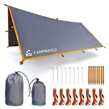 Camping Tarp Waterproof Rain Fly Tent Shelter 9.8 x 9.8ft, Lightweight for Backpacking, Hiking and Outdoor Adventure, UV Protection, Survival Gear, Hammock Canopy