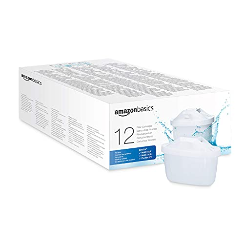Amazon Basics Cartuchos de filtro de agua, Brita Maxtra+ Compatible | 12 unidades | para usar con jarras con filtro de agua...