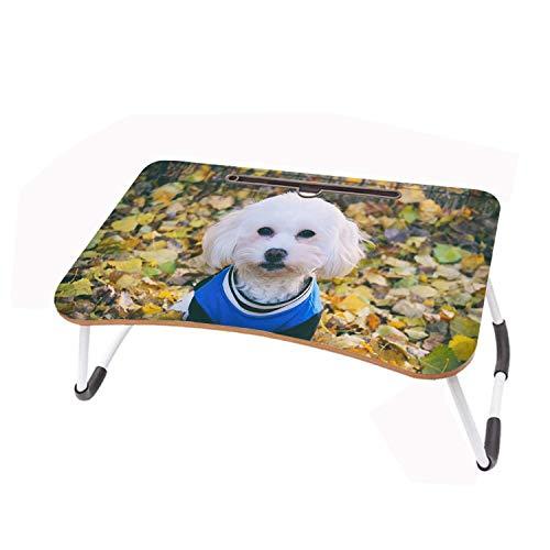 LYWUSUZE Escritorio para Computadora Portátil Perrito Blanco En Ropa En La Mesa De Lectura del Sofá Cama (60 x 40 cm)