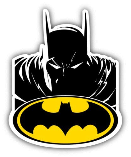 Batman Head Cartoon - Sticker Graphic - Auto, Wall, Laptop, Cell, Truck Sticker for Windows, Cars, Trucks