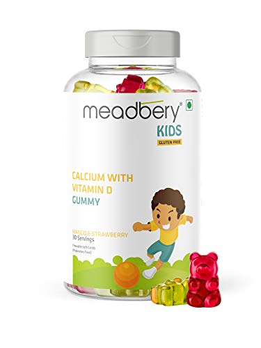 Meadbery Calcium + Vitamin D Gummies for Kids - For Stronger Bones and Teeth in Children who Dislike Milk, Made in an USFDA Registered Facility- 30 Gummy Bears (Pack of 1)
