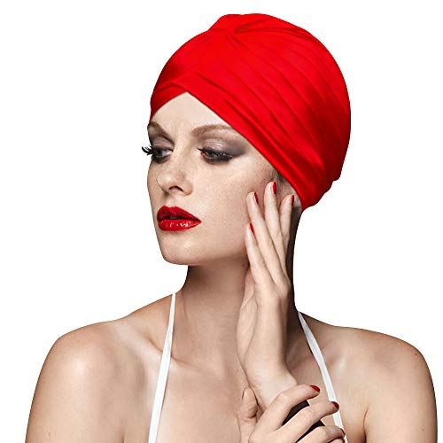 BALNEAIRE Spandex Swim Cap Colorful Bathing Turban Swimming Cap Red