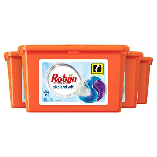 Robijn Stralend Wit Wasmiddel 3 in 1 Wascapsules, voor de Witte Was - 4 x 15 wasbeurten - Voordeelverpakking
