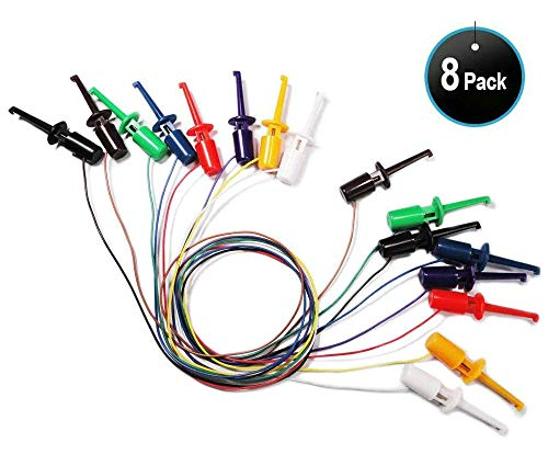 Klemmprüfspitze mit kabel 8 Stück Arya Runde Hakenklemme Prüfspitze für Elektronische Test Haken,Messfühler, Kabel für Multimeter, Drahtleitungs-Set