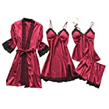 Youmymine 3Pcs Women Lingerie Satin Lace Chemise Nightgown Sexy Cami Nightdress...
