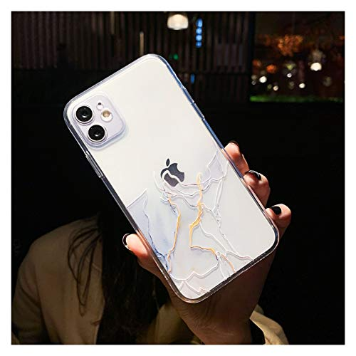 Glqwe Funda de teléfono de mármol Claro para iPhone 12 Mini Pro MAX 6 7 8 11 S Plus X S XR MAX Moda Degradado de Moda Suave (Color : T4, Material : For iPhone 12)