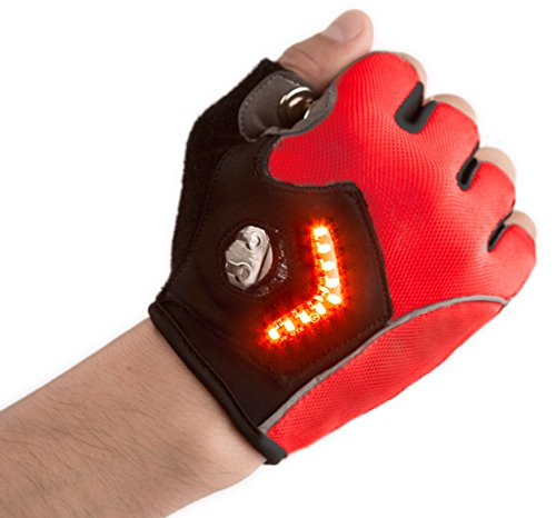 Zackees LED Turn Signal Bike Lights in Cycling Gloves, Light up Your Bicycle Ride with The Best reviewed Bike Turn Signals! (Red, X-Small)