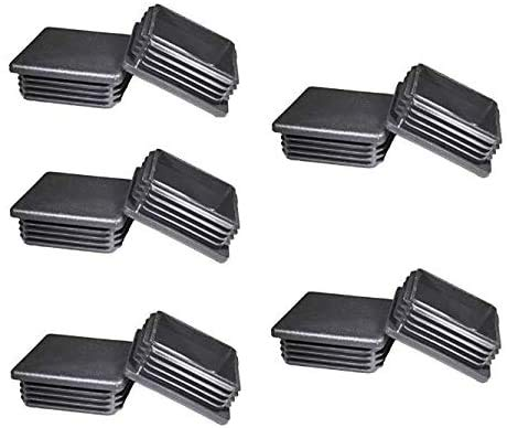 (Pack of 10)2' Square Tubing Black Plastic Plug,2 Inch End Cap 2'x2' 2x2 Fence Post Pipe Cover Tube Chair Glide Insert Finishing Plug
