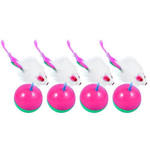 Balacoo 4Pcs Gato Tumbler Ball Toy Gatito Mouse Teaser Masticar Patadas Catcher Toy para Mascota Gato Gatito