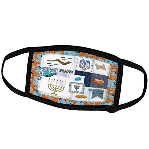 3dRose Image of Hanukkah Menorah, Sufganiyah, Dreidels, Shofar Collage - Face Masks (fm_341442_2)
