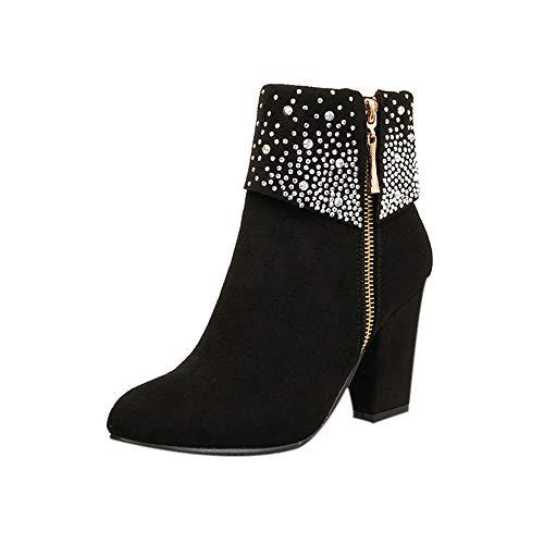 DOLDOA Stiefel Dame Schwarz,Frauen Kristall dicken quadratischen Flock Ankle Zipper warme Stiefel Round Toe Schuhe Stiefel mit seitlichem Reißverschluss
