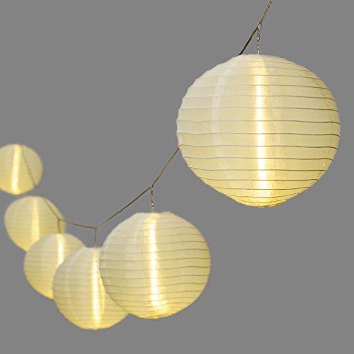 LuminalPark Guirlande 8 m, 10 lampions Ø 20 cm, LED Blanc Chaud, câble Transparent, prolongeable