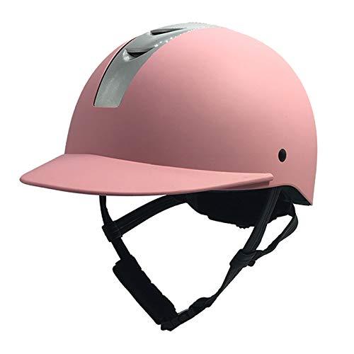 LXFTK Ecuestre Hípica Casco para niños y niñas, Suministros niños ecuestres Cascos de Seguridad al Aire Libre Casco Ultraligero Knight Cascos niños ecuestres Pink-S