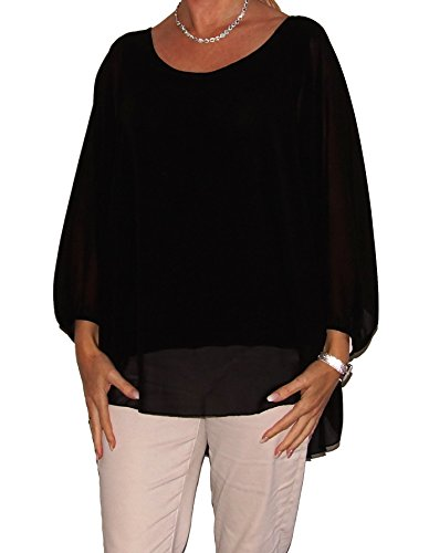 Am Laufsteg Chiffon-Bluse, 7/8 Arm (AS1), Rundhals-Ausschnitt, hinten etwas länger als vorne, weiter Schnitt, mit Jersey-Futter, Uni-Größe, schwarz