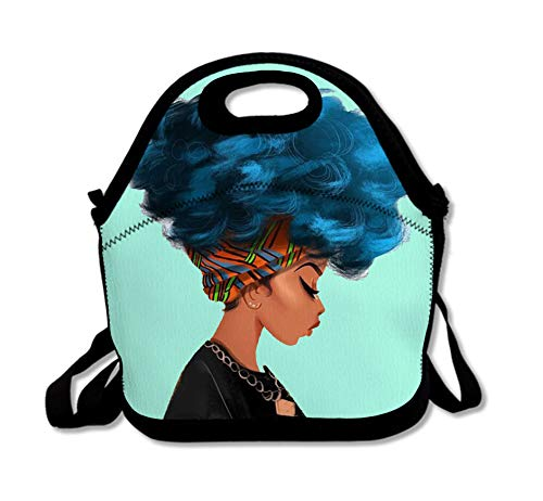 SARA NELL Neoprene Afro Women Lunch Bag Insulated African American Women Blue Hair Lunch Tote Bags Lunchbox Handbag with Adjustable Shoulder Strap for Work School Outdoor Picnic