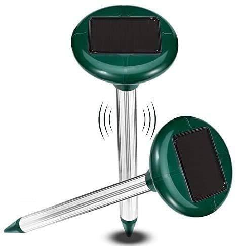 2 Piezas Ahuyentador Ultrasonidos Solar, Repelente Solar Ultrasónico, Repelente de Topo con IP56, Ultrasónico de Control de Plagas para Jardines,Céspedes,Roedores,Serpientes, Hormigas,Topillos