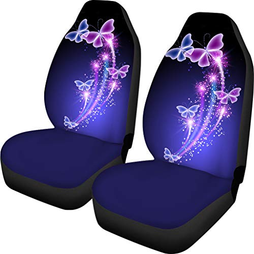 PZZ Butterflies Front Seat Covers Set of 2 with Headrest Covers for Cars Truck SUV Interior