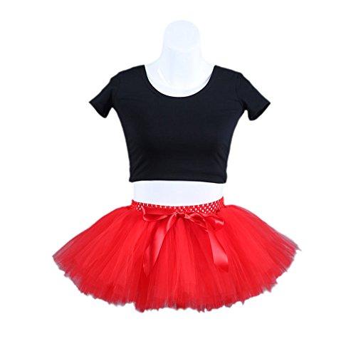 URVIP Damen's Kurz Retro Petticoat Rock Ballett Blase 50er Tutu Unterrock Tütü Abschlussball Tanzkleid Party Minirock Tüllrock One Size Rot