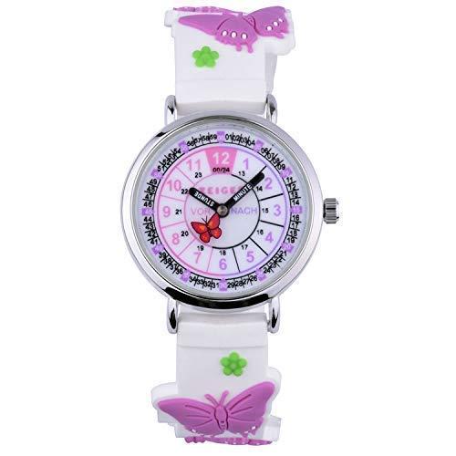 Reloj De Pulsera Infantil Niños Reloj Chica Reloj Niños Reloj Educativo niña Rosa corazón Pequeños Nina Joven 3D KW112(31mm-Mariposa púrpura Claro)