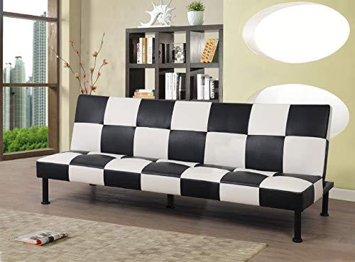 Beverly Furniture F3103 Futon Convertible Sofa Black/White