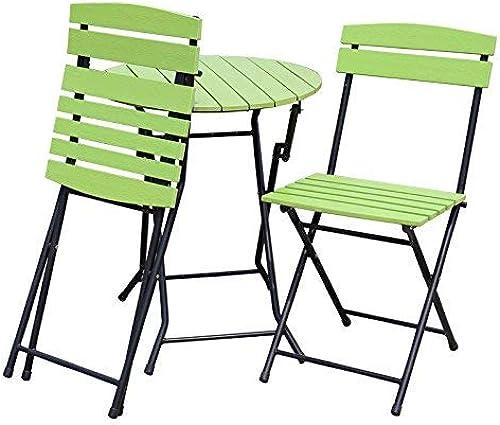 punto de venta Mesa Plegable Mesas y sillas para para para Exteriores Conjuntos Balcón Plegable Mesas de Ocio Combinación de Hierro de mesas y sillas (Color  verde)  respuestas rápidas