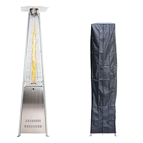 GardenCo Outdoor Flame Patio Heater - Stainless Steel Gas Pyramid Patio Heater - Weatherproof Cover and Wheels - 13KW