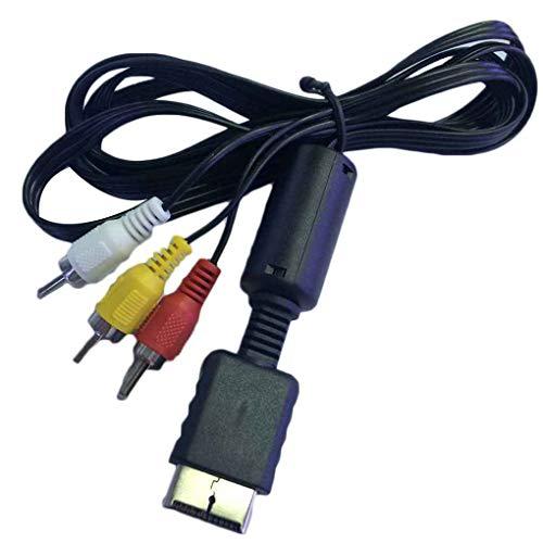 PRENKIN 1,8 m de PVC AV Video Audio Cable AV Cable TV Cable de Repuesto para Playstation/PS 1/2/3 TV del Juego
