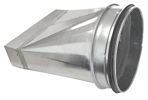 Flachkanal Übergangsstück auf Wickelfalzrohr B: 100 140 180 220 300 mm DN 80 100 125 150 160 200 mm symmetrisch (B: 300 / DN 150)