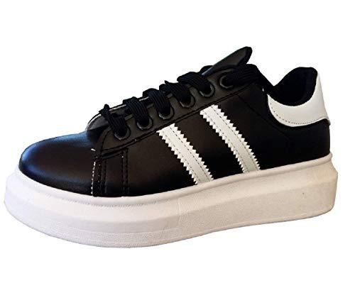 Zapatillas - Mujer - Cuero ecológico - Color Negro - Rayas Blancas - Talla 35 EU - Idea de Regalo de cumpleaños - Navidad - Fiesta